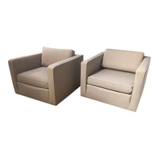 Mid-Century Probber or Baughman Style Cube Lounge Chairs - a Pair