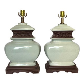 Vintage Celadon Chinoiserie Dragon Lamps - A Pair