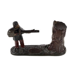 19th Century Original Cast Iron Bank-Soldier Shooting a Coin