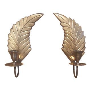 Vintage Brass Palm Frond Leaf Candle Holders- A Pair
