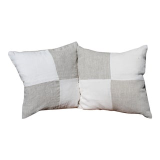 White and Beige Linen Pillows - A Pair