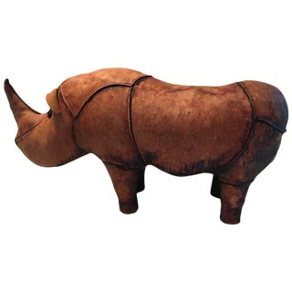 Distressed Leather Abercrombie & Fitch Style Rhino Footstool Sculpture