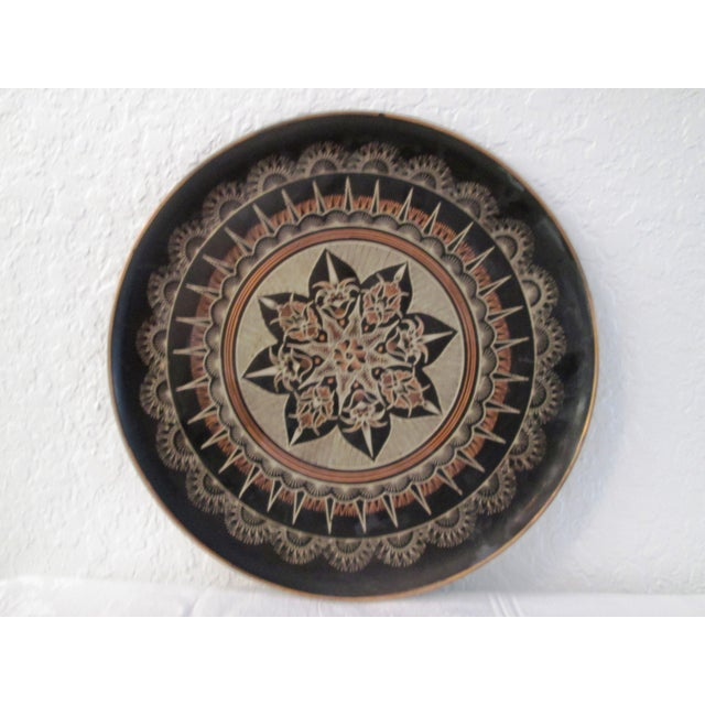 Vintage Moroccan Large Etched Copper Tray - Image 2 of 6