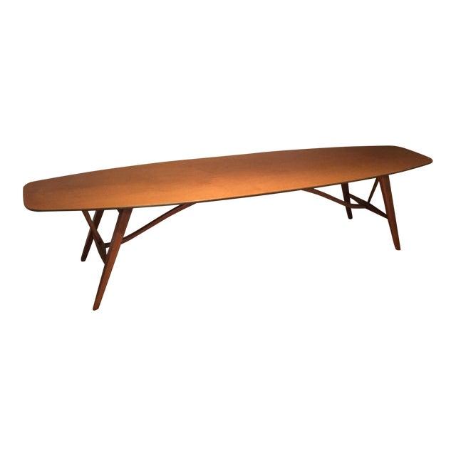 Lane Mid Century Surfboard Coffee Table: Vintage Mid-Century Drexel Surfboard Coffee Table