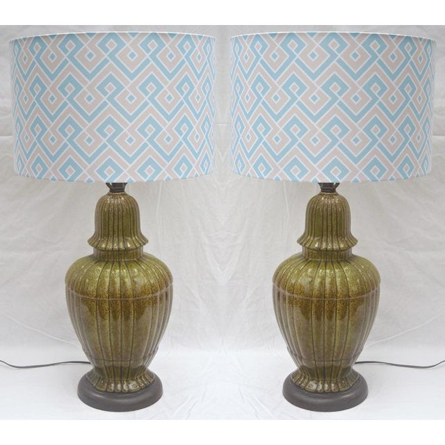 Hollywood Regency Ginger Jar Green Lamps - Pair - Image 4 of 8