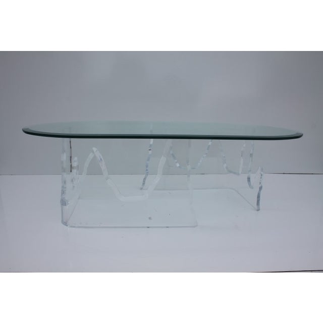 Image of Lion in Frost Vintage Lucite Iceberg Coffee Table