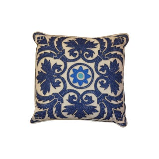 Barclay Butera Blue on Cream Beaded Pillow