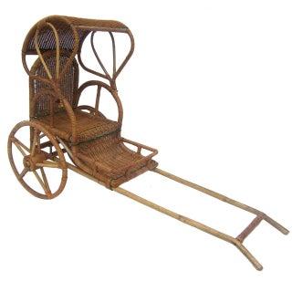Wicker Handmade Child's Rickshaw, 1950's.