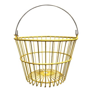 Vintage Industrial Farm Yellow Wire Egg Basket
