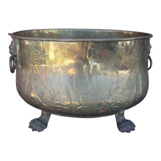 Large Vintage Brass Cachepot