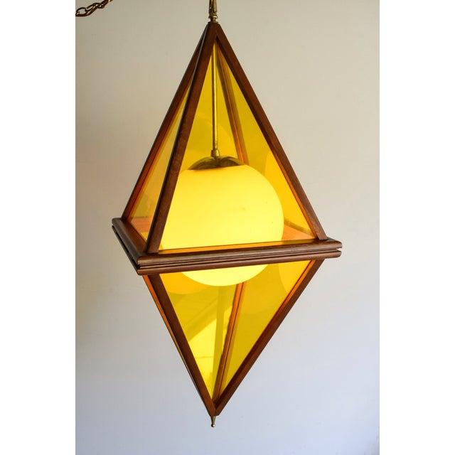 Mid-Century Teak & Yellow Pendant Light - Image 9 of 11