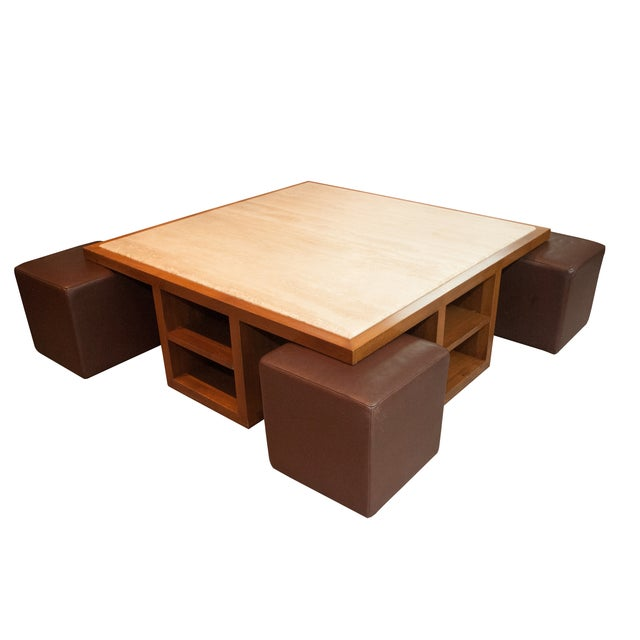 Custom Walnut Coffee Table And 4 Ottomans Chairish