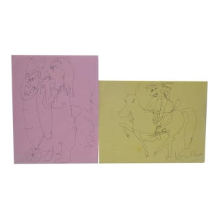 Peter Voulkos Original Pen & Ink Drawings - A Pair