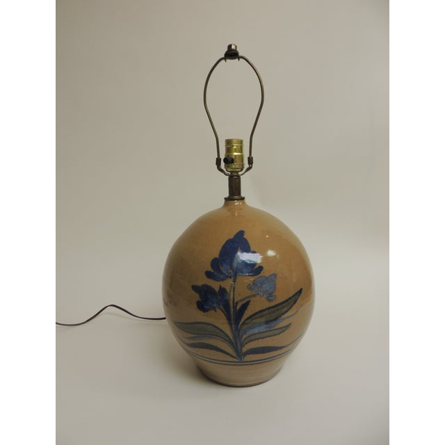 Vintage Round Stoneware Table Lamp - Image 2 of 5