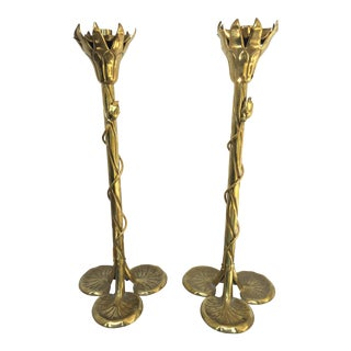 """Brass """"Lotus"""" Candle Holders - A Pair"""