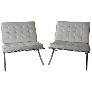 Barcelona-Style Chrome & White Leather Chairs - A Pair