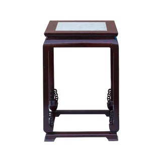 Oriental Solid Redwood Marble Top Table Stand
