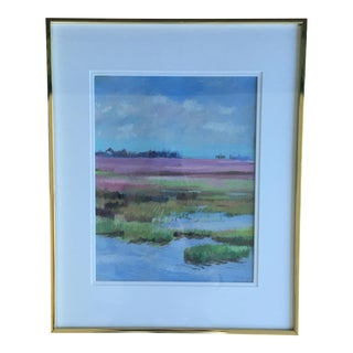 Original Abstract Coastal Marsh Seascape Pastel Drawing