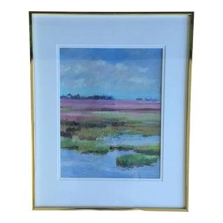 Original Abstract Coastal Marsh Seascape Pastel Framed Art