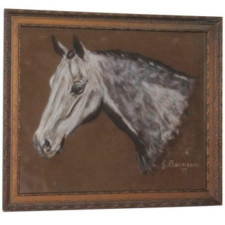 Hand-Painted Horse Head on Leather, Dated 1927