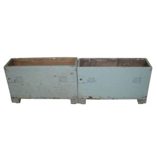 Vintage Blue Industrial Tool Storage Chests or Crates - a Pair
