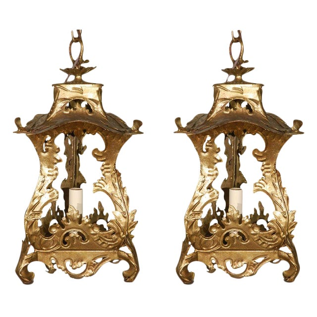 Pair of Venetian Style Tole Lantern Pendants - Image 1 of 8
