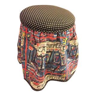 Cafe De Flore Upholstered Rolling Stool Original Mary Zeman Fabric Art