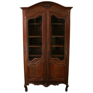 1930 FrenchNormandy Style Bookcase, Carved Oak