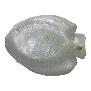 French Clear Glass Fish Plates - Set of 5