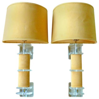 Rare Lucite and Faux Suede Sconces - A Pair