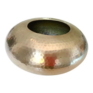 Oval Hammered Brass Vase