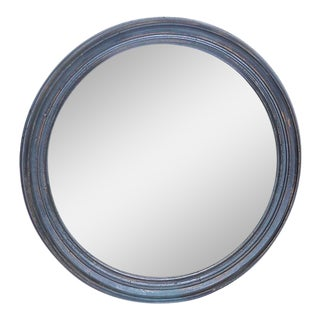 Vintage Blue Round Wall Mirror
