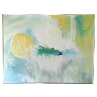 """""""Tranquility"""" by R Sontag Mid-Century Oil Painting"""