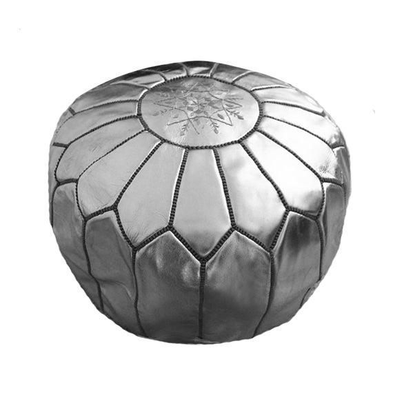 moroccan silver pouf chairish. Black Bedroom Furniture Sets. Home Design Ideas