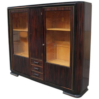 1940s Vintage French Art Deco Exotic Macassar Ebony Bookcase