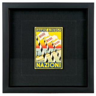 Framed Vintage Hotel Luggage Label - Nazioni
