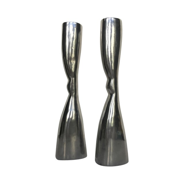 Modern Pewter Candlesticks - A Pair - Image 1 of 4