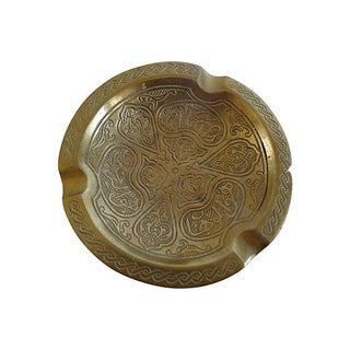 Solid Brass Ashtray With Motif