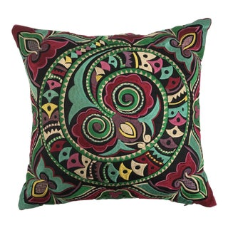 Silk Embroidered Dragon Asian Pillow