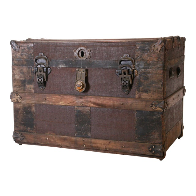 Victorian Wood & Metal Flat Top Brown Steamer Trunk - Image 1 of 11