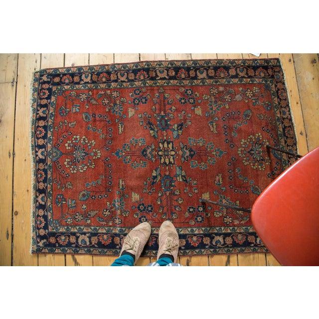 "Antique Manchester Kashan Square Rug - 3'4"" X 4'6"" - Image 7 of 8"