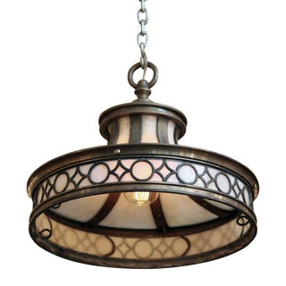 Bronze & Opalescent Geometric Design Pendant Light