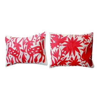 Red Tenango Pillows - Pair