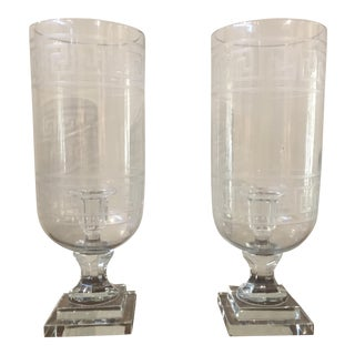 Large Etched Crystal Greek Key Hurricanes - a Pair