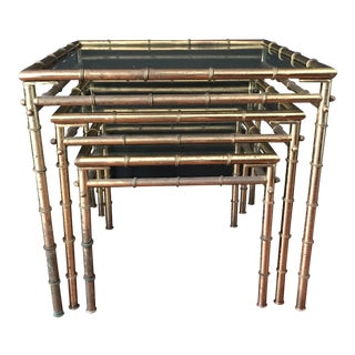 Vintage Faux Bamboo Brass Nesting Tables - Set of 3