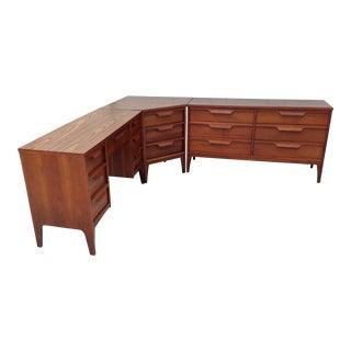 Vintage Mid-Century Desk & Dresser - 3 Pieces
