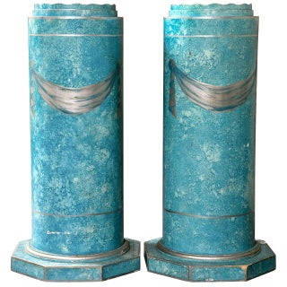 Blue Painted Pedestals - A Pair