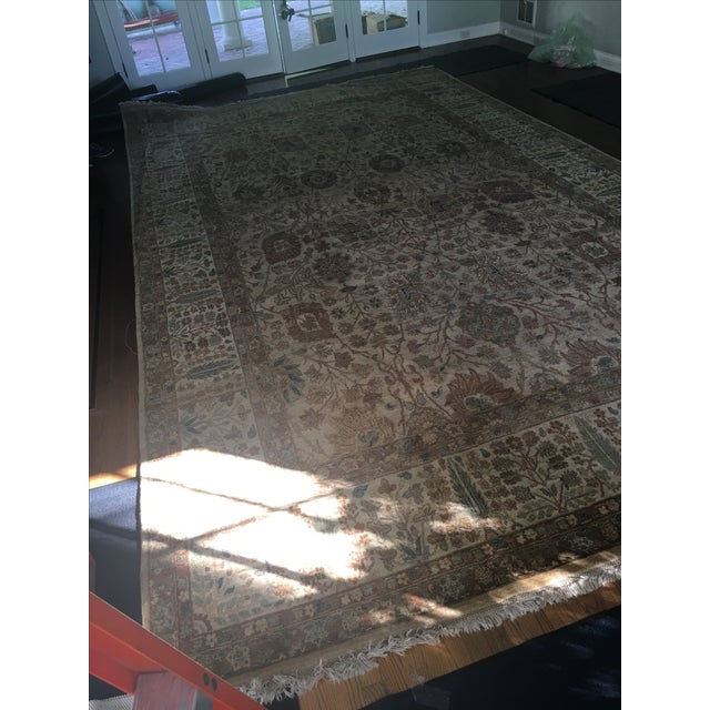 """Handknotted Rust & Teal Wool Area Rug- 10' x 17'8"""" - Image 7 of 8"""