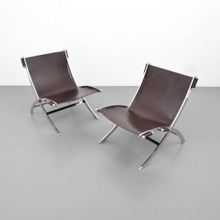 1960s American Paul Tuttle Chrome and Leather Lounge Chairs - A Pair