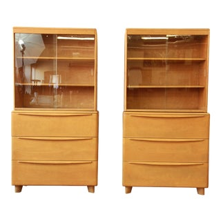 Pair of Heywood Wakefield Mid-Century Modern Glass Front Cabinets